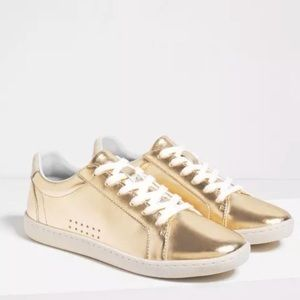 Zara Gold Leather Sneakers